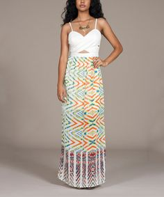 Another great find on #zulily! Orange & White Ikat Cross-Front Maxi Dress #zulilyfinds