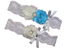 Ivory Beach Blue Lace Wedding Garter Set with Pearl  Rhinestone  Bow Prom Gift *** Visit the image link more details.