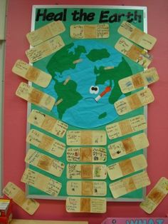 Earth Day activity - students write how they'll do their part on band-aids…