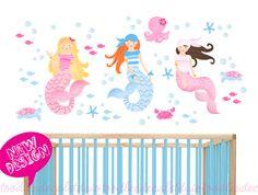 Mermaid Wall Decal for Girls Nursery - Mermaid Sealife Fabric Decal stickers - 3 Mermaids - Reusable Peel 'n Stick - Baby Summer Beach Decal by ToodlesDecalStudio on Etsy