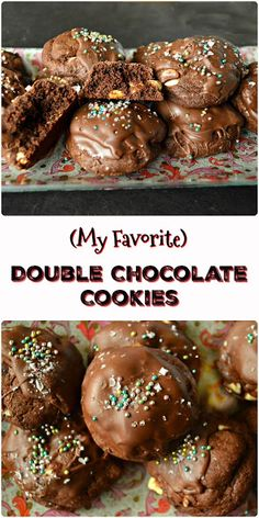 Double chocolate cookies are dense, chocolatey cookies are for all chocolate and cookie lovers. They can be customized with nuts or various flavored chips, but this cookie is hands down my most favorite chocolate, chocolate cookie! Double Chocolate Cookies, Chocolate Treats, Homemade Chocolate, Chocolate Chocolate, Cupcake Recipes, Cookie Recipes, Cupcake Cakes, Dessert Recipes, Holiday Pies