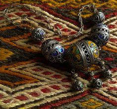 African Tuareg Berber Woman Enamel Ball Chain by Antiquetreasury