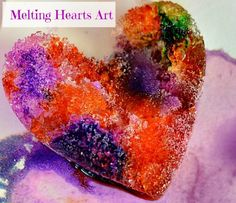 hearts art salt ice experiment I could do this with just paper cups or ice cubes. Science Experiments Kids, Science Art, Science For Kids, Art For Kids, Science Table, Valentine Crafts For Kids, Winter Crafts For Kids, Preschool Winter, Salt And Ice
