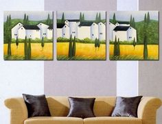 100% Hand Painted Artwork Village House 3 Piece Wall Art Oil Painting Modern Art Canvas Art Gallery Wrapped Stretched and Ready to Hang by Paintingworld, http://www.amazon.com/dp/B00B9OI71K/ref=cm_sw_r_pi_dp_nk-Xrb0VWC566