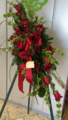 Free standing red rose spray designed by Veronica Hoenshell Casket Flowers, Grave Flowers, Funeral Flowers, Wedding Flowers, Grave Decorations, Flower Decorations, Funeral Floral Arrangements, Flower Arrangements, Colorful Flowers