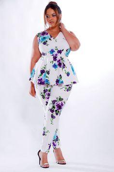 JIBRI Plus Size Peplum Top- Floral ~Latest African Fashion, African Prints, African fashion styles, African clothing, Nigerian style, Ghanaian fashion, African women dresses, African Bags, African shoes, Kitenge, Gele, Nigerian fashion, Ankara, Aso okè, Kenté, brocade. ~DK