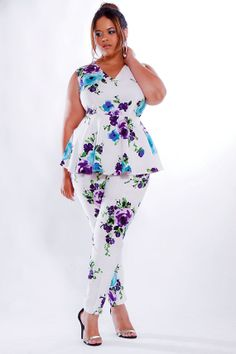 JIBRI Plus Size Peplum Top Floral by jibrionline on Etsy, $125.00 Would this be appropo for a wedding?