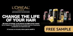 Free L'Oreal Advanced Haircare Sample