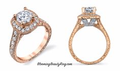 Rose Gold Halo Engagement Ring from BloomingBeautyRing.com