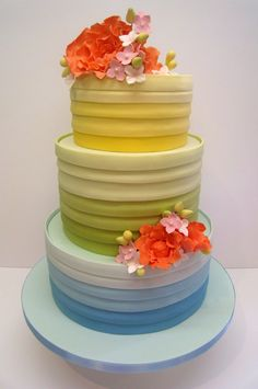 Rainbow Colours Wedding Cake For A Bride Having A Rainbow Themed Wedding Bottom Tier Is A Zesty Lemon Cake Laced With A Lemon Syrup Lem  on Cake Central