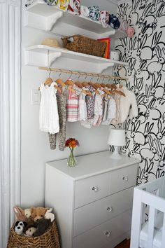 Tiny Brooklyn Nook-Turned-Nursery - Project Nursery Love the open concept closet for this small nurs Nursery Nook, Girl Nursery, Project Nursery, Nursery Ideas, Nursery Rugs, Nursery Wallpaper, Kids Bedroom Sets, Kids Room, Bedroom Ideas