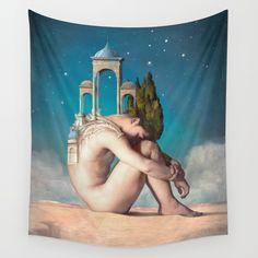 Dreamer Wall Tapestry. #collage #digital #photomontage #dreamer #desert #night