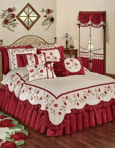 The Briar Rose Comforter Set is polyester faux silk. The champagne center has diamond quilting, and the drop has dark red and blush vining rose embroidery. Rose Comforter, Comforter Sets, Floral Comforter, King Comforter, Bedroom Red, Bedroom Decor, Bedding Decor, Draps Design, Designer Bed Sheets