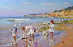 Alexander Averin - Russian artist - Launching the small ships Seaside Art, Beach Art, Beach Kids, Realistic Paintings, Original Paintings, Famous Art Pieces, Russian Painting, Summer Photos, Pictures To Paint