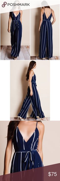 """Striped Maxi Jumpsuit Striped jumpsuit with a tie waist. Available in white and navy. This listing is for the NAVY. This is an ACTUAL PIC of the item - all photography done personally by me. Model is 5'9"""", 32""""-24""""-36"""" wearing the size small. NO TRADES DO NOT BOTHER ASKING. PRICE FIRM. Bare Anthology Pants Jumpsuits & Rompers"""