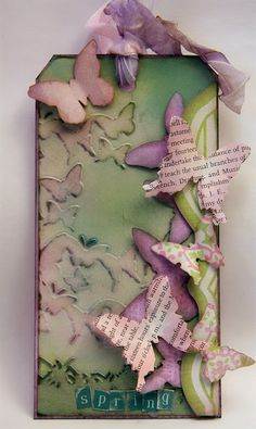 Tag by @Jan Hobbins featuring Tim Holtz dies. I like the use of embossed & cut butterflies, adding depth.