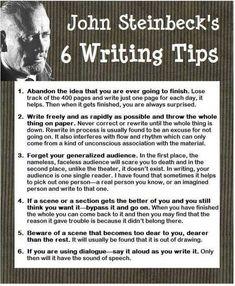 "essebellwrites: "" John Steinbeck's VERY USEFUL writing advice ─ ℰ. (via John Steinbeck 6 Writing Tips Creative Writing Tips, Book Writing Tips, Writing Words, Writing Quotes, Fiction Writing, Writing Process, Writing Resources, Writing Help, Writing Skills"