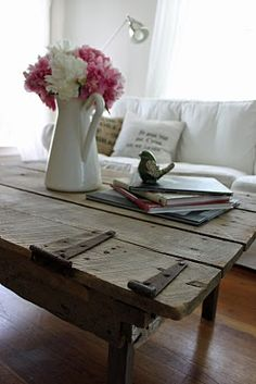 amazing old door tabletop for a coffee table by The Wannabe Cottage