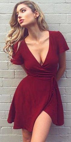 Bordeaux Wrap Dress @roressclothes closet ideas #women fashion outfit #clothing style apparel