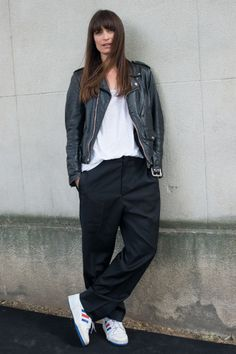 Forget last season's track pant: even the perennially casual Caroline de Maigret keeps her plimsolls slick by pairing with smoothly pressed suit trousers.