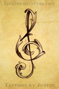 treble clef tattoo by Justin Jackson MS by jacksonmstattoo.deviantart.com on @deviantART