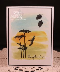 Strokes of Distress inks were brushed on watercolor paper before stamping the images and the sentiment.