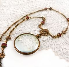 Magnifying Glass Necklace Monocle Glass by ThreeSistersFoundry
