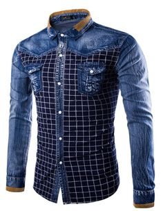 Cheap denim shirt, Buy Quality mens casual wear directly from China wear denim shirt men Suppliers: Men's casual wear new checked long sleeved denim shirt Blue Denim Shirt, Denim Jacket Men, Cool Shirts For Men, Casual Shirts For Men, Camisa Rock, Estilo Cool, Nigerian Men Fashion, African Shirts, Casual Wear For Men