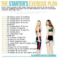 Beginners workout plan. It will help get in the habit of exercising daily or at least 4 times a week in the end. The reason is because it takes 21 days to build a habit.