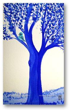 Blue Tree...Allie Ward Watercolor http://endofmybrush.blogspot.com/