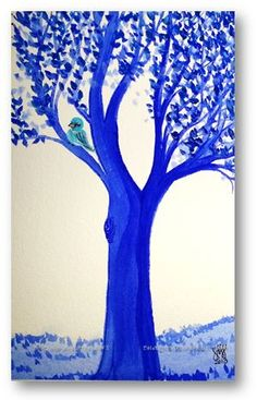 Blue Tree...Allie Ward Watercolor http://endofmybrush.blogspot.com/