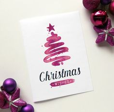 Make your own watercolor Christmas card quickly and easily, purple Christmas . , Make your own watercolor Christmas card quickly and easily, purple Christmas tree, congratulations on Christmas. Create Christmas Cards, Simple Christmas Cards, Printable Christmas Cards, Christmas Wishes, Xmas Cards, Diy Cards, Christmas Crafts, Christmas Ideas, Christmas Christmas