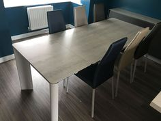 Modern dining combination with New York ceramic extendable dining table, Vita dining chairs, and BOOK ceramic frame sideboard. Delivered to our client in Essex. Leather Bed, Extendable Dining Table, Round Corner, Sofa Design, Modern Bedroom, Contemporary Furniture, Sideboard, Dining Chairs, York