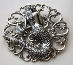 Pins and Brooches 50677: Steampunk Mermaid Brooch Art Nouveau Style Large Hat Pin - Sterling Silver Pltd BUY IT NOW ONLY: $32.95