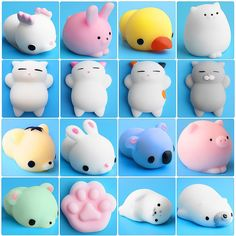 20Pc Cute Mochi Squishy Cat Squeeze Healing Fun Kids Kawaii Toy Stress Reliever