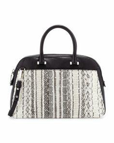 Mercer Snakeskin Medium Satchel Bag, Black/White by Milly at Neiman Marcus.