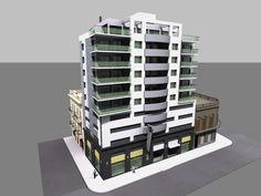 propuesta preliminar edificio de uso mixto parking y vivienda, ciudad vieja, montevideo.