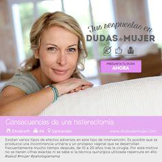 Consecuencias de una histerectomía. Encuentra tu respuesta en https://www.dudasdemujer.com/pregunta/911-cuales-son-las-consecuencias-de-quitarte-la-matriz #salud #mujer #histerectomia