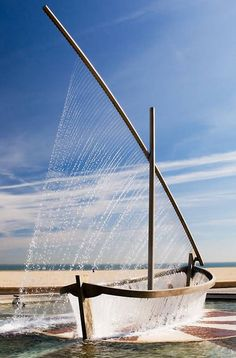 A Boat Fountain - how unusual! Love it!