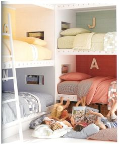 When my kids were little they had their own rooms but they always ended up in the same room each night.  I always loved listening at the door to the precious talks & laughter they shared before they fell asleep.  Such precious moments & memories they shared.  This would be perfect for siblings & sleepovers.