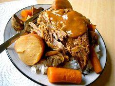 pot roast dinner: cheap, hearty, crock pot dinner
