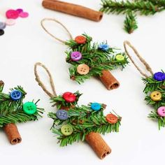 With a little cinnamon, some garland, buttons and a glue gun you have great-looking ornaments on the... - Nick Gerhardt