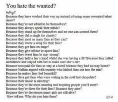The most true thing I have ever read about hate directed towards The Wanted.