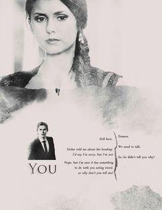 The Vampire Diaries season 4 Elena & Damon Vampire Diaries Seasons, The Vampire Diaries 3, Vampire Diaries Quotes, Vampire Diaries The Originals, Tvd Quotes, Original Vampire, Vampire Dairies, Mystic Falls, Damon Salvatore