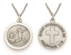 Christian Sterling Silver Sports Medal - Girls Softball