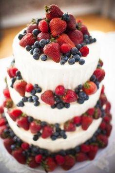 Rustic Wedding Cake with Berries