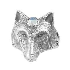 Third Eye Wolf Head Talisman Ring - Midsummer Star  - 1 3rd Eye, Rainbow Moonstone, Third, Moose Art, Wolf, Lion Sculpture, Statue, Sterling Silver, Eyes