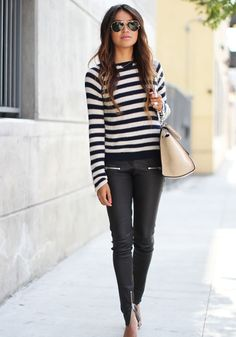 Leather skinny pants, black + white striped sweater