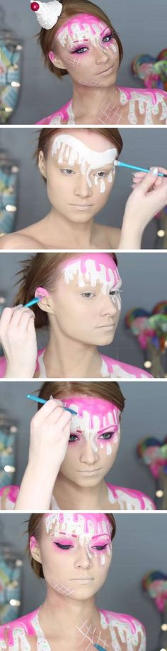 Ice Cream Makeup Tutorial | Click Pic for 18 Easy DIY Halloween Costumes for Women | Last Minute Halloween Costumes for Girls