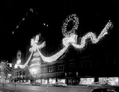 Christmas decorations at Dayton's Department Store, 1954.